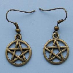 Pentagram oorbellen, brons