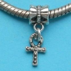 Ankh of Egyptisch kruis bangle, Tibet zilver, Pandora stijl
