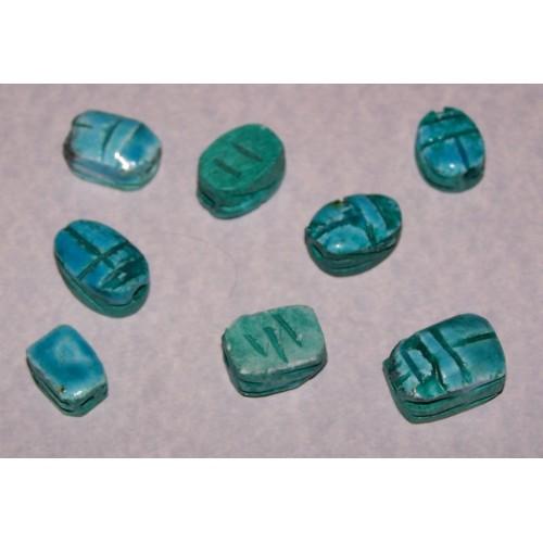 Egyptische scarabee kraal - Turquoise aardewerk