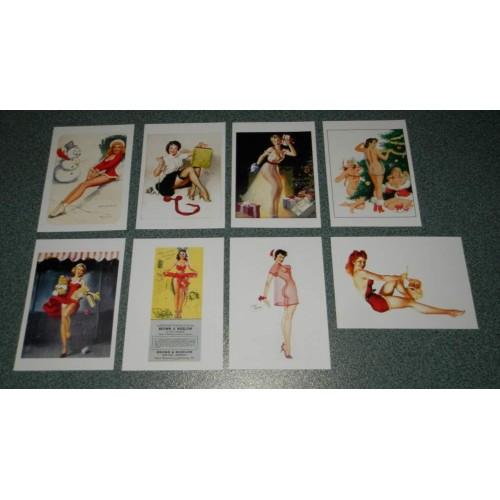 8 dubbele Kerst pin-up kaarten - set A