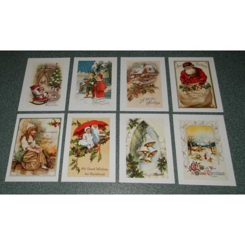 8 Vintage Kerst ansichtkaarten - set A