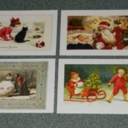 8 Dubbele vintage Kerst kaarten met envelop - set B