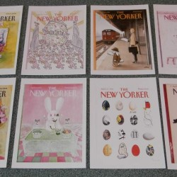 8 New Yorker cover grote (A5) dubbele Pasen kaarten - set A