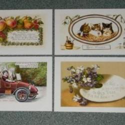 8 Dubbele vintage Nieuwjaar kaarten met envelop - set A