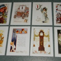 8 Dubbele vintage Nieuwjaar kaarten met envelop - set B