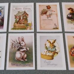 8 Vintage dubbele Paaskaarten - set A