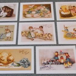 8 Dubbele vintage Paas kaarten - set B