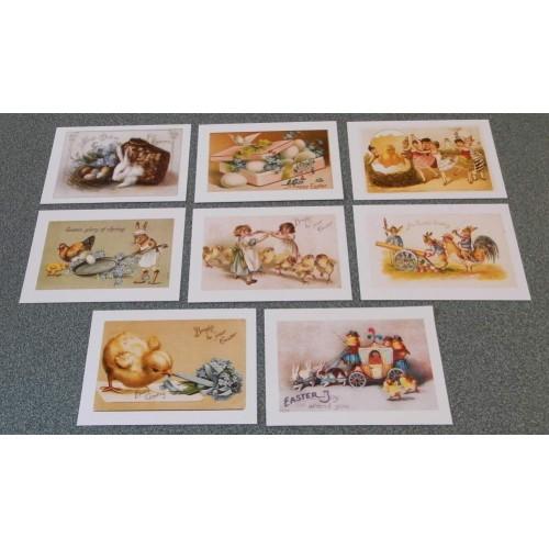 8 Grote dubbele vintage Paas kaarten - set B