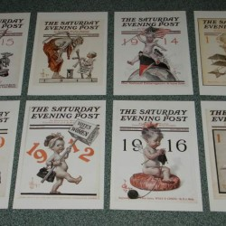 8 dubbele Saturday Evening Post Nieuwjaar cover kaarten