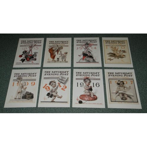8 Grote dubbele Saturday Evening Post Nieuwjaar cover kaarten