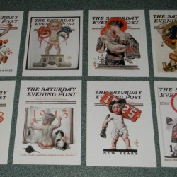 8 Dubbele Saturday Evening Post Nieuwjaar cover kaarten - set B
