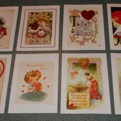 8 grote (A5) vintage Valentijns dubbele kaarten met envelop - set A