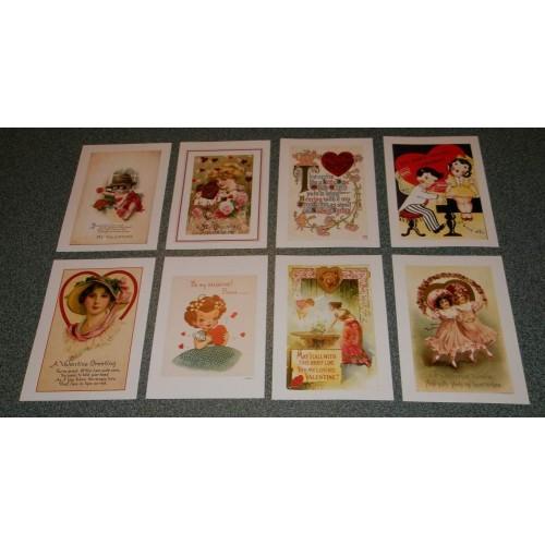 8 Vintage Valentijns ansichtkaarten - set A