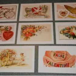 8 Dubbele vintage Valentijns kaarten - set B