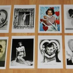 8 Dubbele nostalgische Hollywood Valentijns kaarten - set B