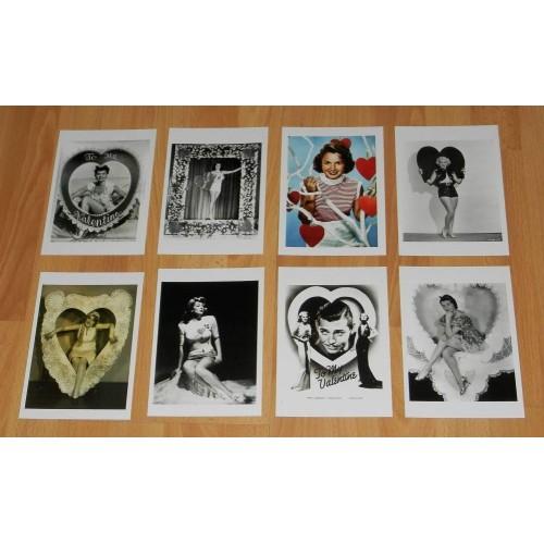 8 Nostalgische Hollywood Valentijns ansichtkaarten - set B