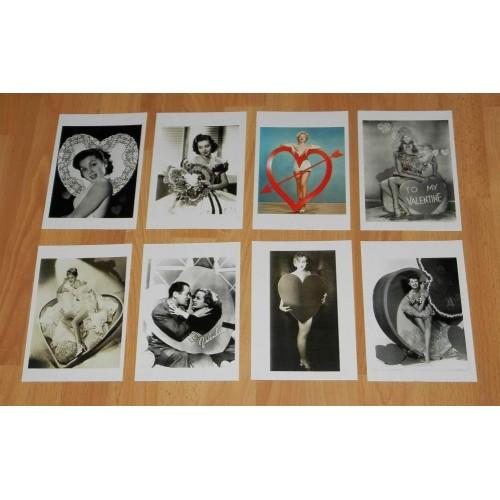 8 Dubbele nostalgische Hollywood Valentijns kaarten - set C