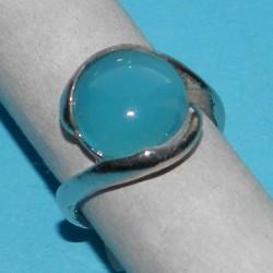 Zilveren ring met aqua agaat, model E, maat 17,5