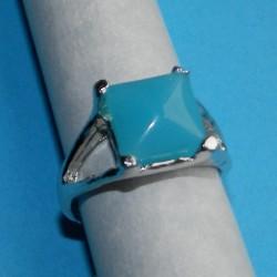 Zilveren ring met aqua agaat, model G, maat 18