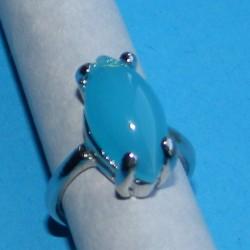 Zilveren ring met aqua agaat, model I, maat 17