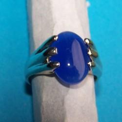 Zilveren ring met blauwe agaat, model B, maat 15