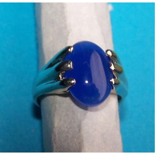 Zilveren ring met blauwe agaat, model B, maat 17