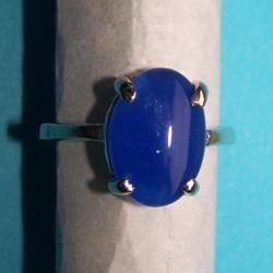 Zilveren ring met blauwe agaat, model C, maat 16