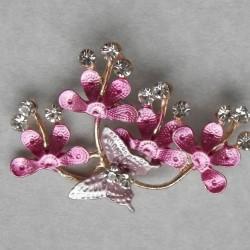 Roze bloemen en vlinder broche, met Swarovski