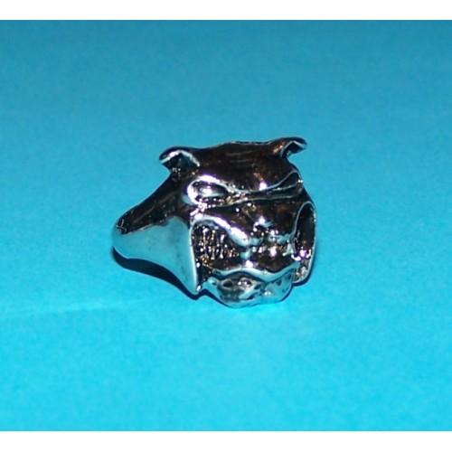 Bulldog ring, Tibet zilver, maat 18