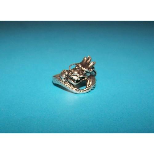 Draak ring, Tibet zilver, model E, maat 18