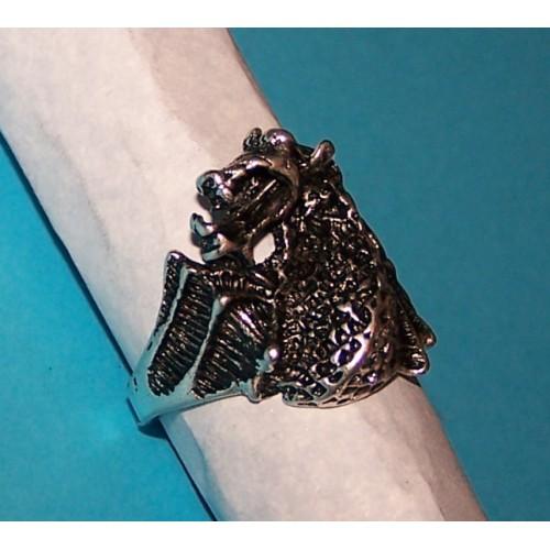 Draak ring, Tibet zilver, model I, maat 19