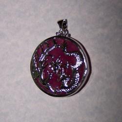 Draak hanger, zilver en paarse Jade