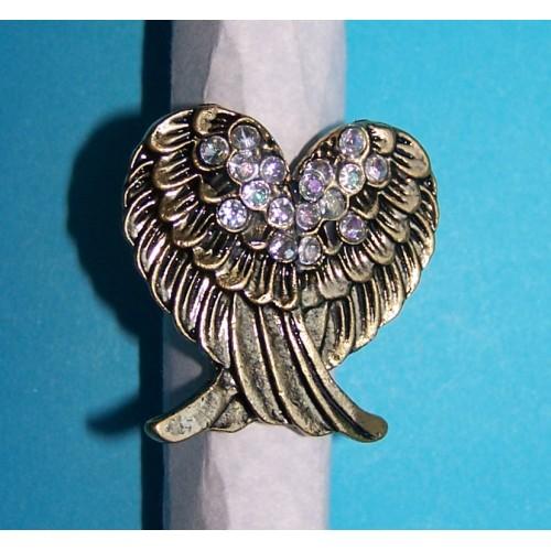 Grote engel vleugels ring, goud met Swarovski, verstelbaar