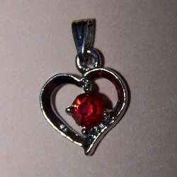 Hart hangertje, zilver met rood Swarovski kristal