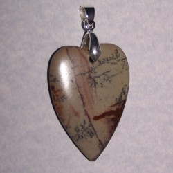 Chohua jaspis hart hanger, met hangeroog