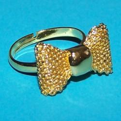 Strikje ring, goudkleurig, verstelbaar